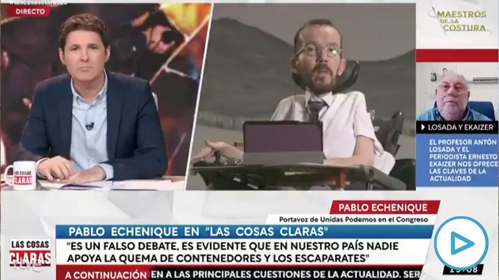Pablo Echenique no condena la violencia por Hasél después de 3 tres preguntas en TVE. (Vídeo: 'Las cosas claras', de TVE)