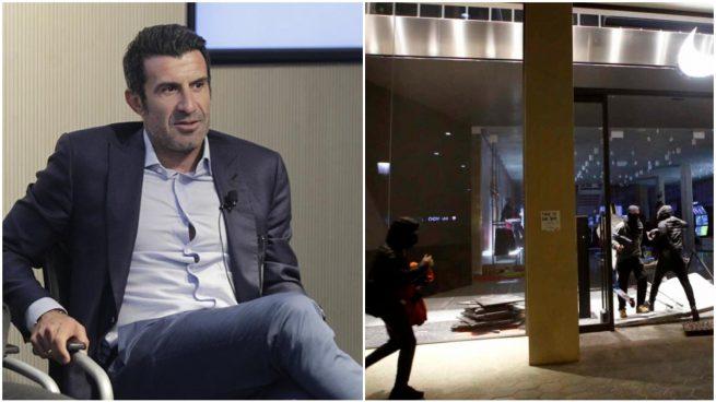 Luis Figo y los disturbios de Barcelona (EFE).