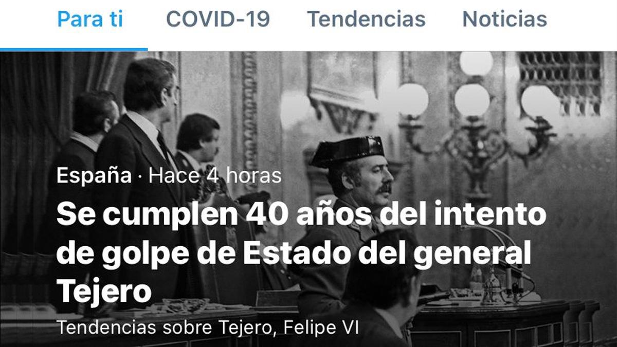 Twitter asciende a general al teniente coronel Tejero.