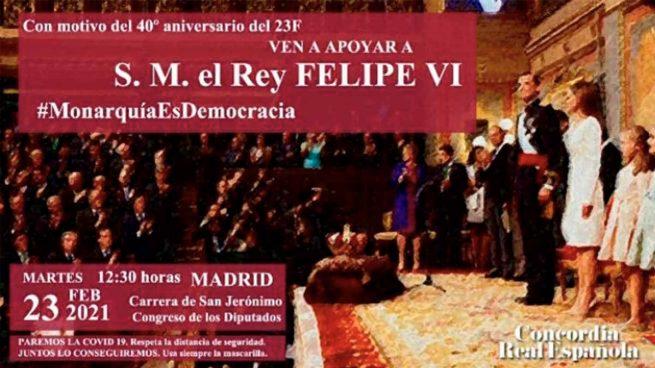 Concordia Real Española llama a concentrarse en apoyo al Rey en el aniversario del 23-F