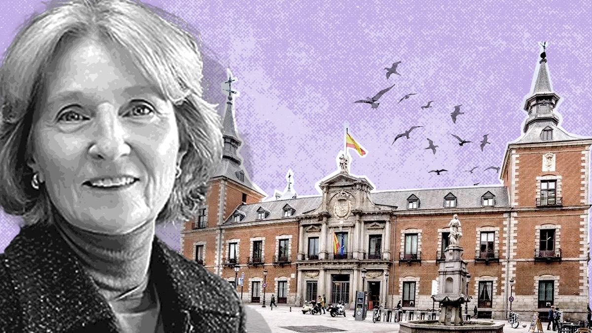 La ex subdirectora general de Asuntos Patrimoniales del Ministerio de Asuntos Exteriores, Isabel Cabrera-Kabana Sartorios, ante una imagen del Palacio de Santa Cruz, sede de la diplomacia española en Madrid.