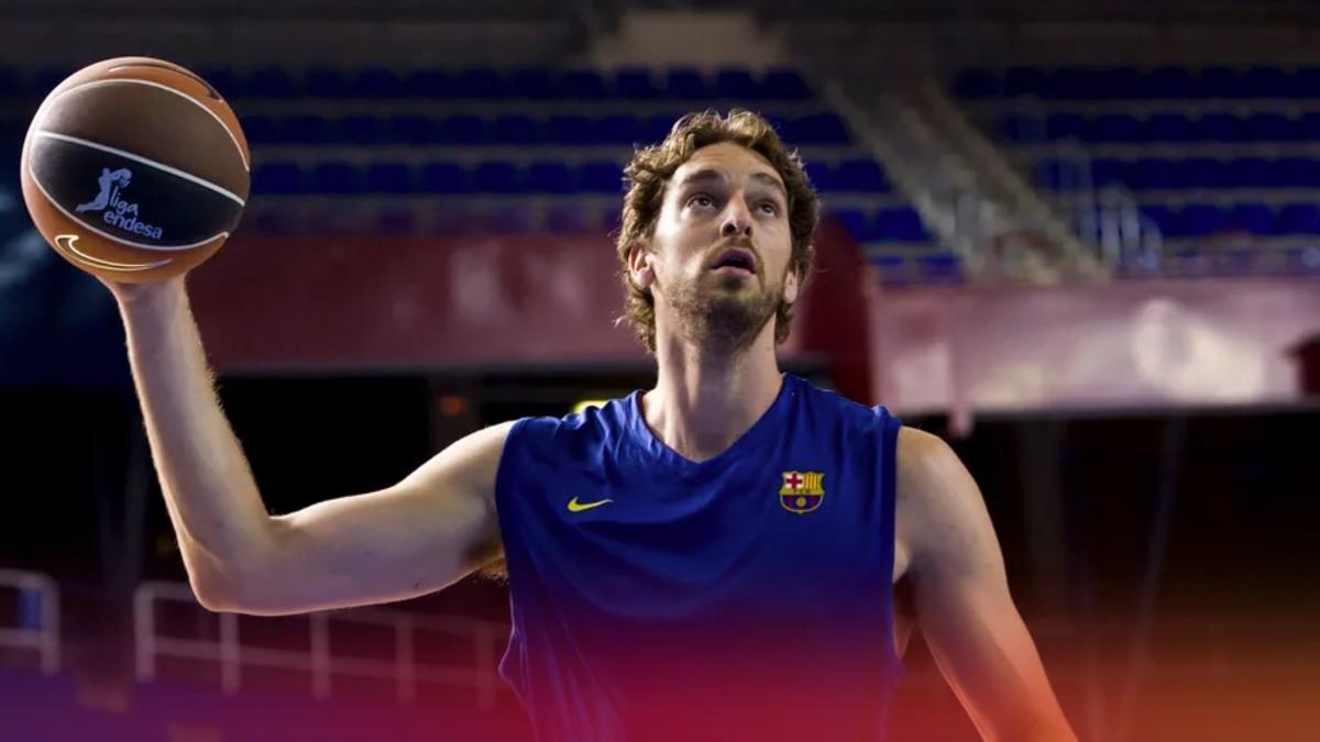 Pau Gasol, entrenando en el Palau Blaugrana.