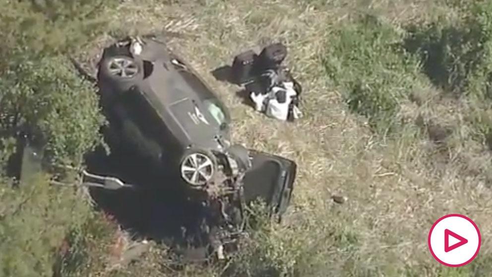 Así quedó el coche de Tiger Woods tras su grave accidente de tráfico. (@DanPatrick)
