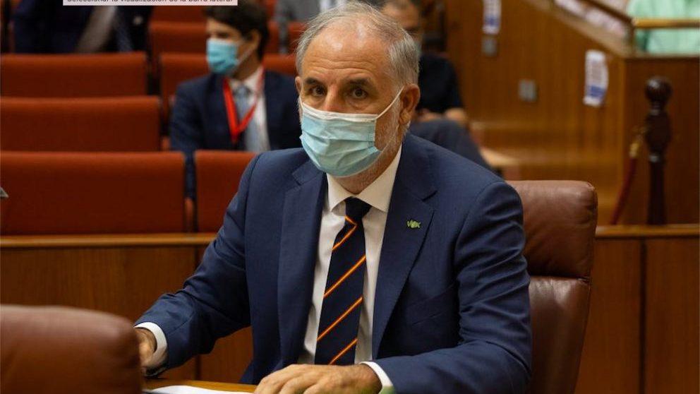 Macario Valpuesta, toma posesión del acta de diputado por el grupo Vox en el Parlamento andaluz.