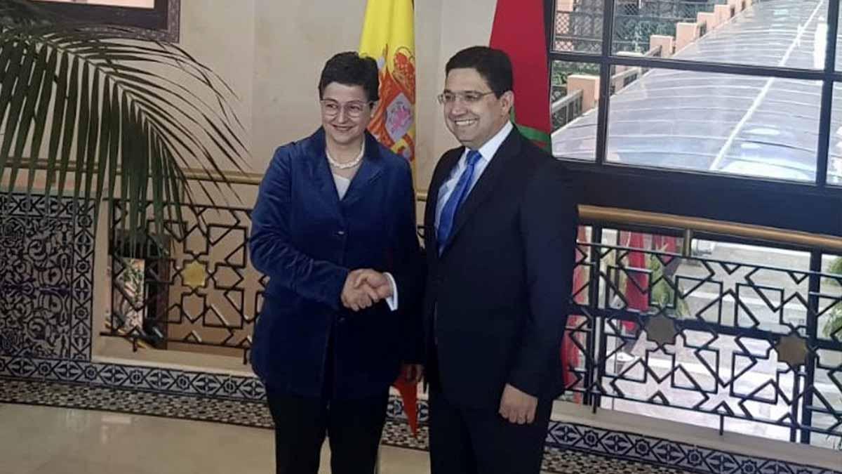 La ministra de Asuntos Exteriores española, Arancha González Laya y su homólogo marroquí, Nasser Bourita. Foto: EP