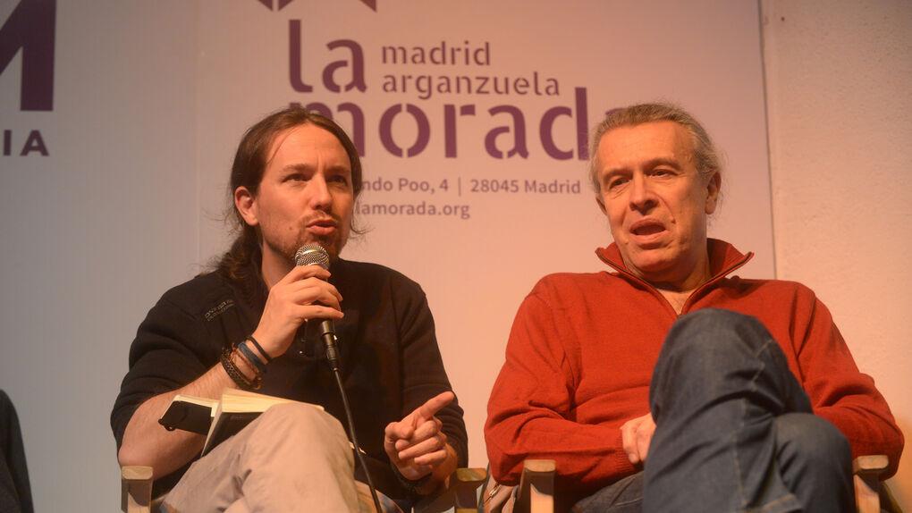 Pablo Iglesias y Martín Medem en un acto de Podemos.