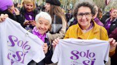 Boti García y Beatriz Gimerno con el lema 'Sólo sí es sí' en el 8M de 2020. (Foto: @BeatrizGimeno1)