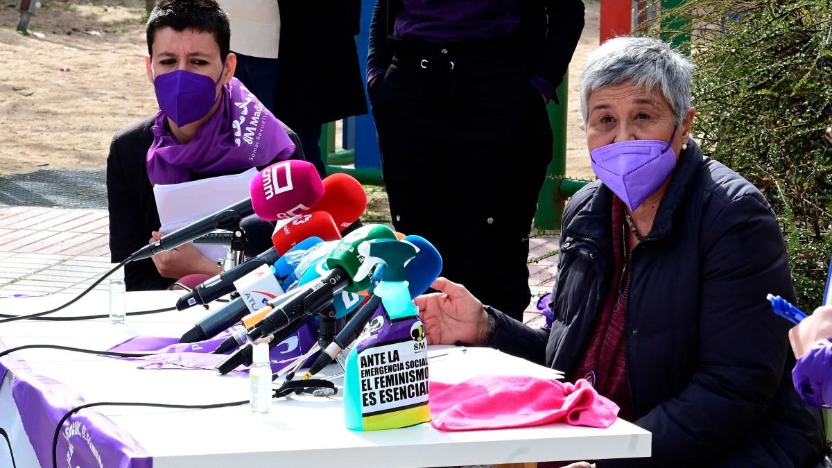 Mercedes Ruiz-Giménez, la hija mayor de Joaquín Ruiz-Giménez, en la rueda de prensa de la Comisión 8M. (Foto: Efe)