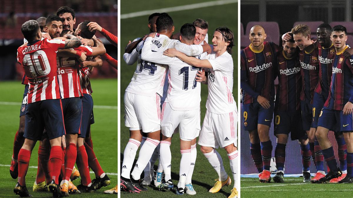 Atlético, Real Madrid y Barcelona, en una jornada crucial en el pulso por la Liga (Getty)