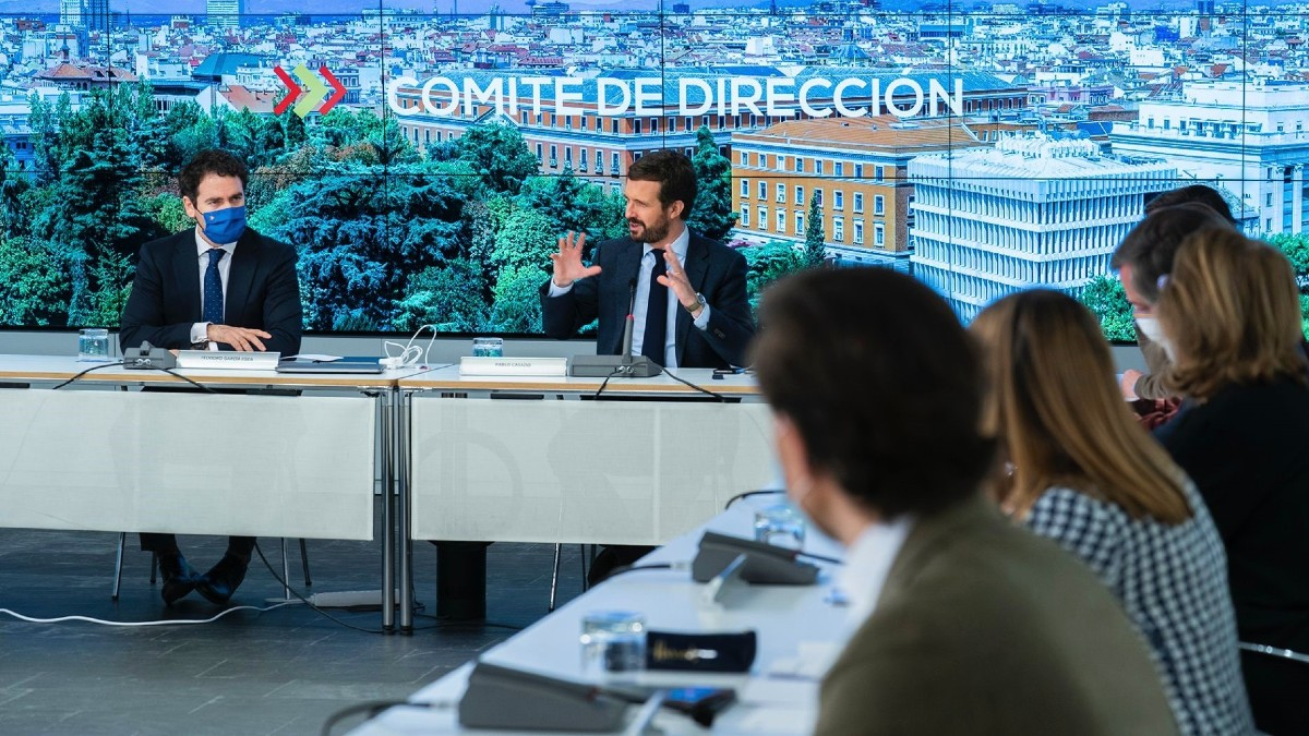 El líder del PP, Pablo Casado, reúne al comité de dirección del PP. (Foto: Europa Press)