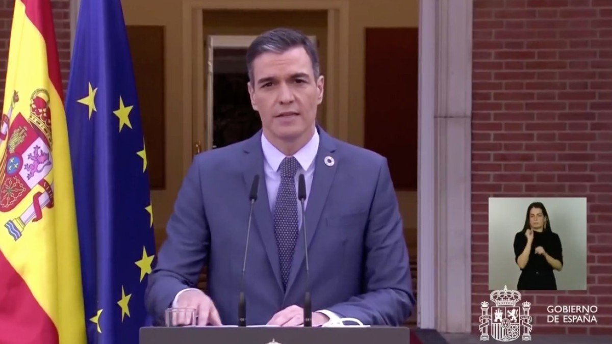 Pedro Sánchez durante su comparecencia en el Palacio de la Moncloa.