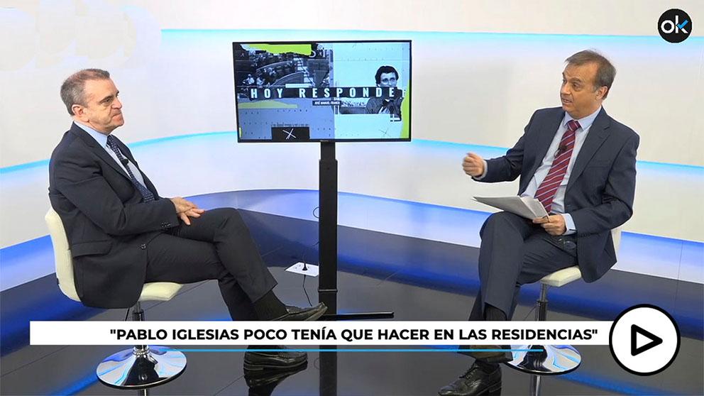 El delegado del Gobierno, José Manuel Franco, exculpa a Iglesias de las muertes en residencias