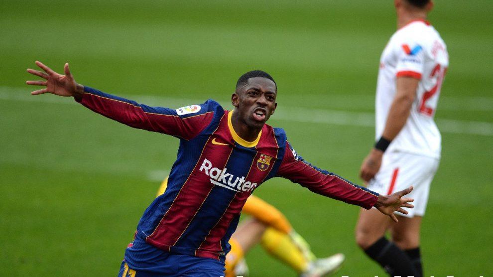 Ousmane Dembélé celebra su gol en el Sevilla-Barcelona. (Getty)