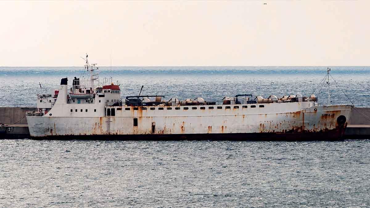 El barco Karim Allah con cerca de 900 terneros devueltos por Turquía y Libia. Foto: Efe