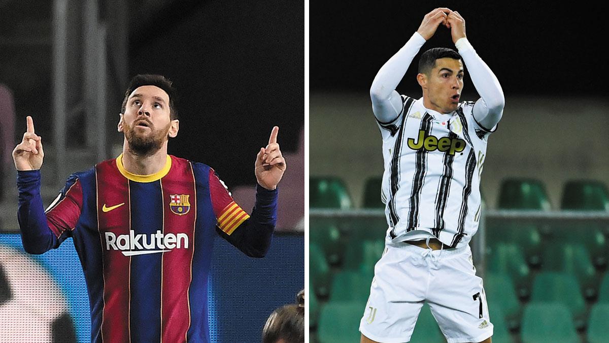 Messi y Cristiano, tras marcar recientemente con sus respectivos equipos (AFP)