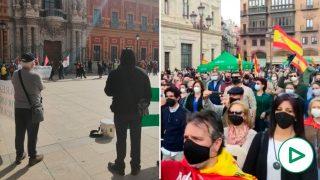 Vox 'se merienda' a Podemos en el Día de Andalucía: la manifestación podemita se queda desierta.