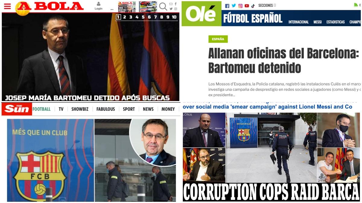 Portadas de la prensa internacional sobre el 'Barçagate'.
