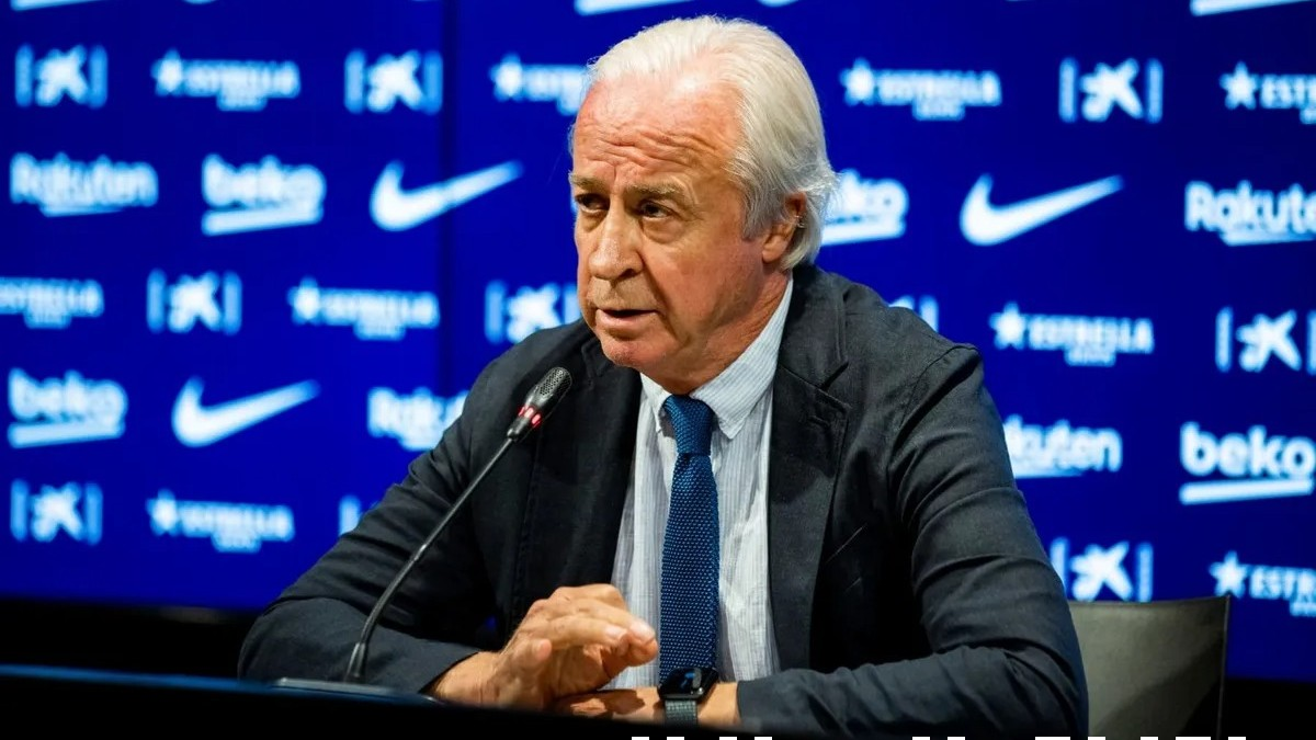 Carles Tusquets, durante una rueda de prensa. (F.C. Barcelona)