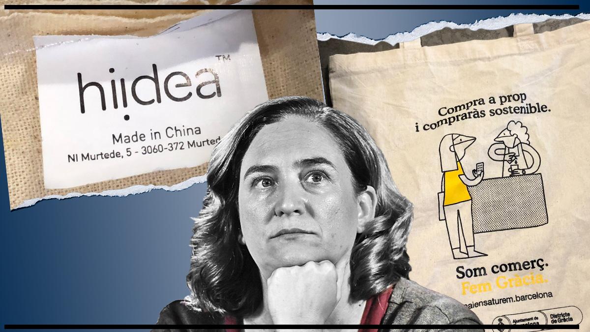 El Ayuntamiento de Ada Colau reparte bolsas fabricadas en Chine para apoyar el comercio local.