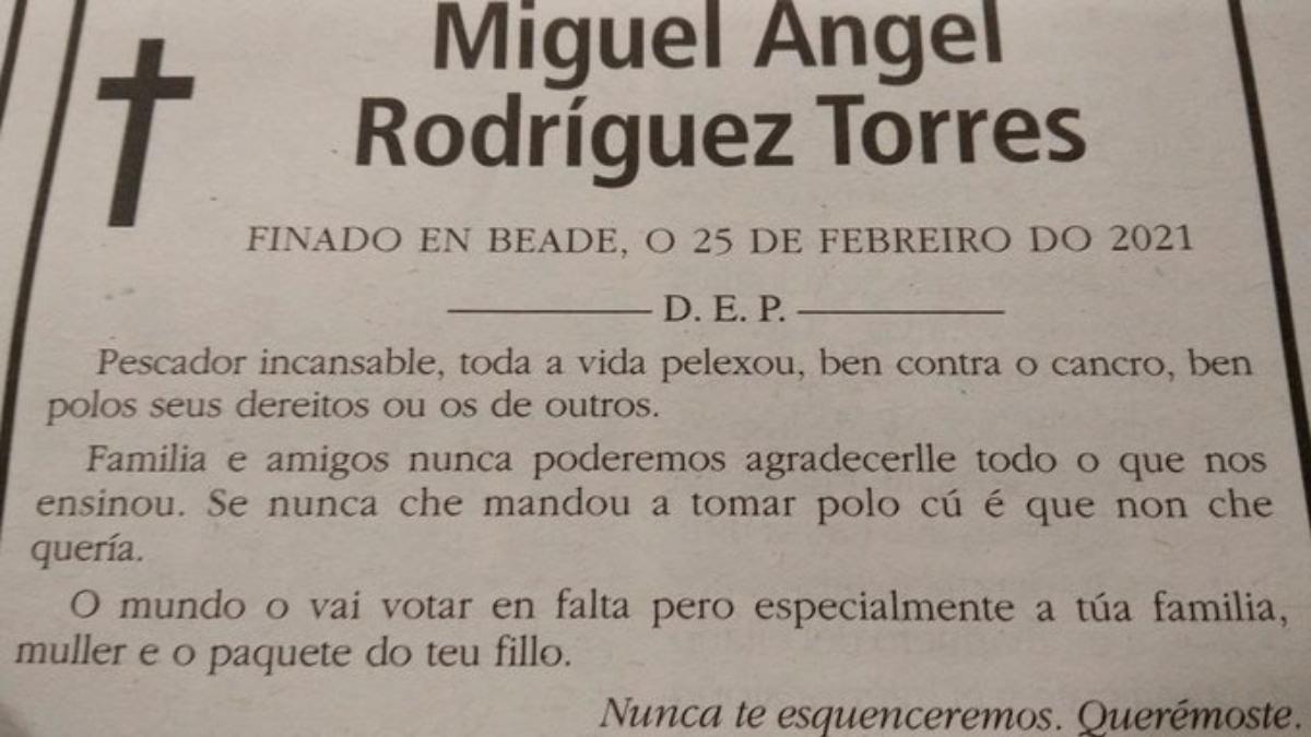 La esquela viral de un gallego: «Si nunca te mandó a tomar por culo es que no te quería»