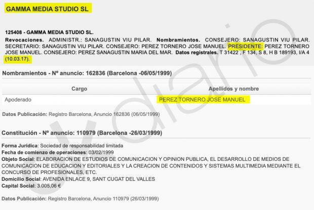 Nombramientos de Tornero como administrador, apoderado y presidente de su propia sociedad instrumenal.