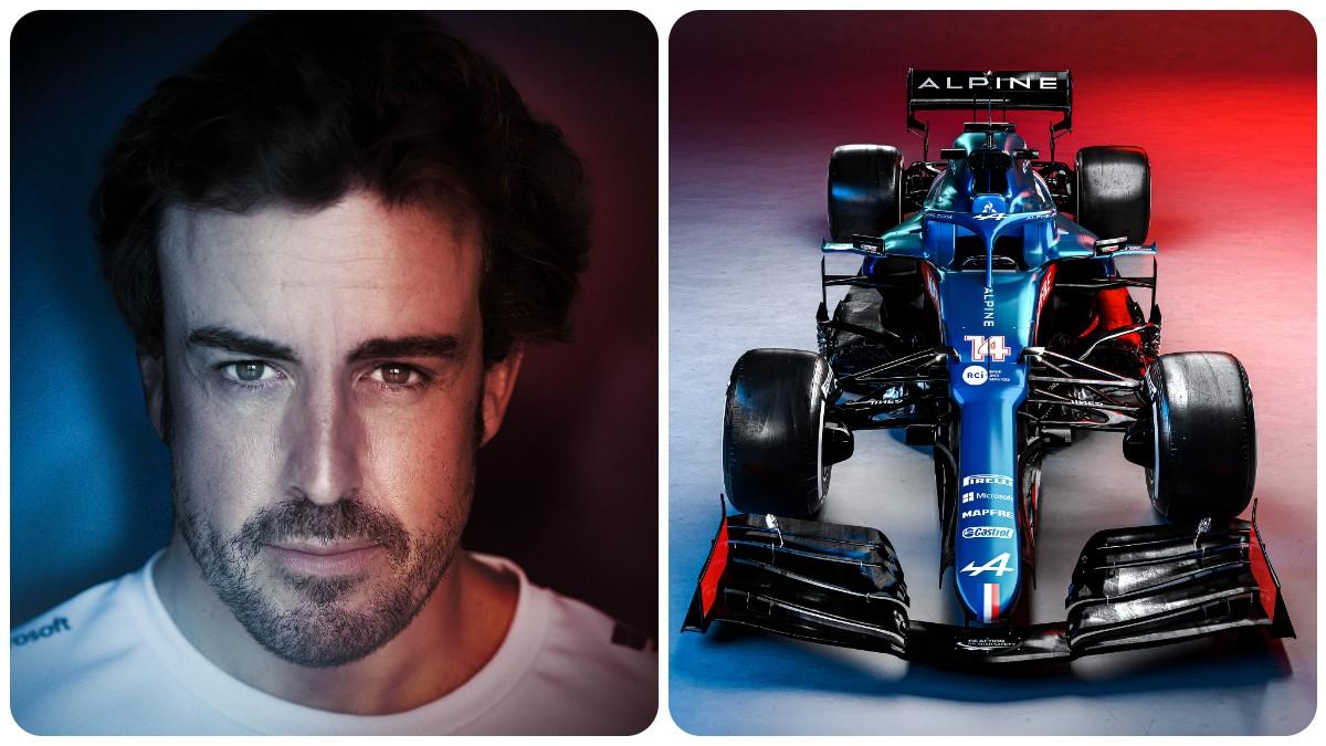Fernando Alonso y su nuevo Alpine. (@AlpineF1Team)