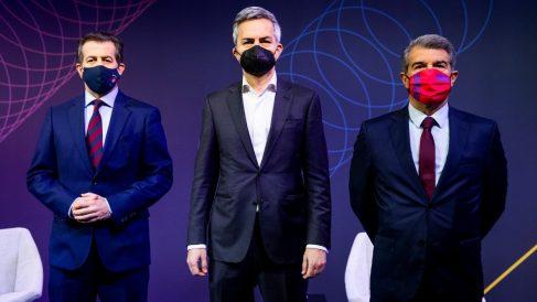 Freixa, Font y Laporta, antes de un debate electoral. (FC Barcelona)