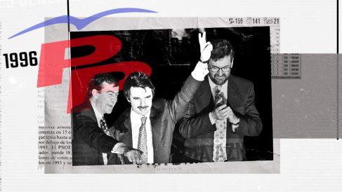 José María Aznar celebra la victoria de 1996 desde el balcón de Génova