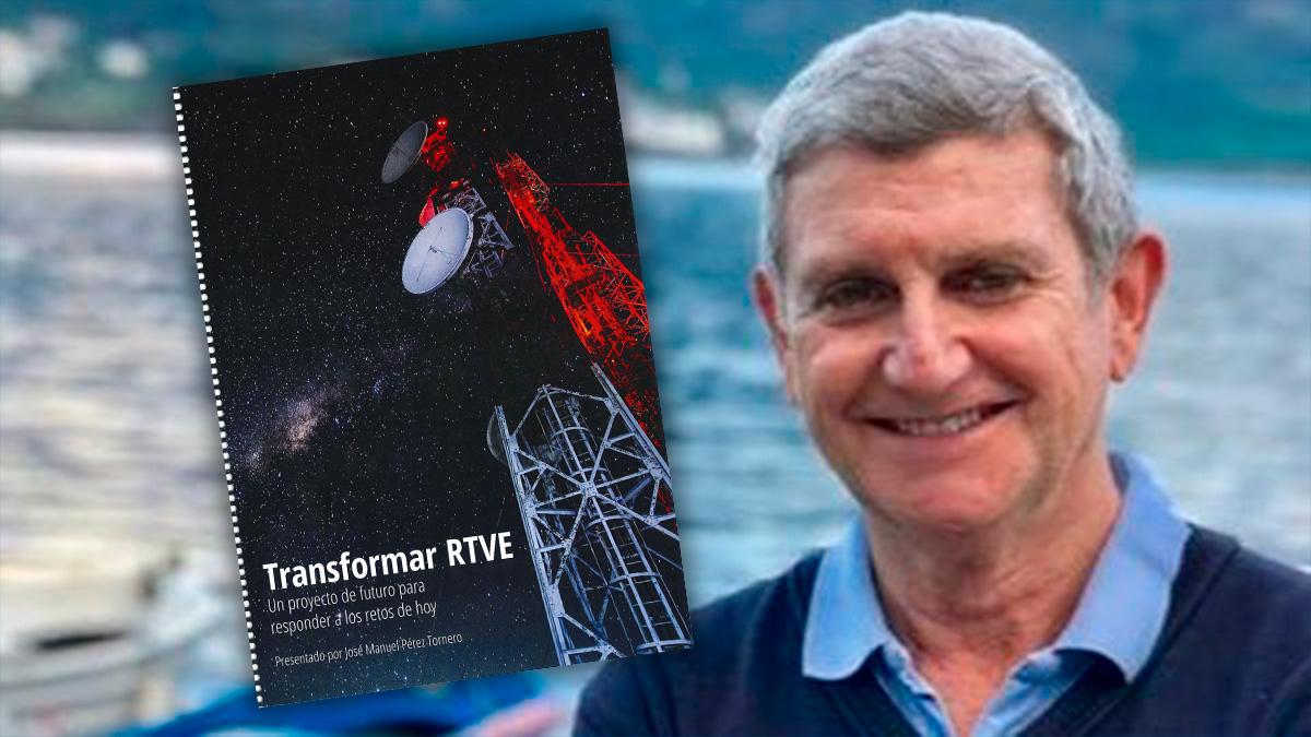 El nuevo presidente de RTVE, José Manuel Pérez Tornero, y la portada de su proyecto para el grupo.