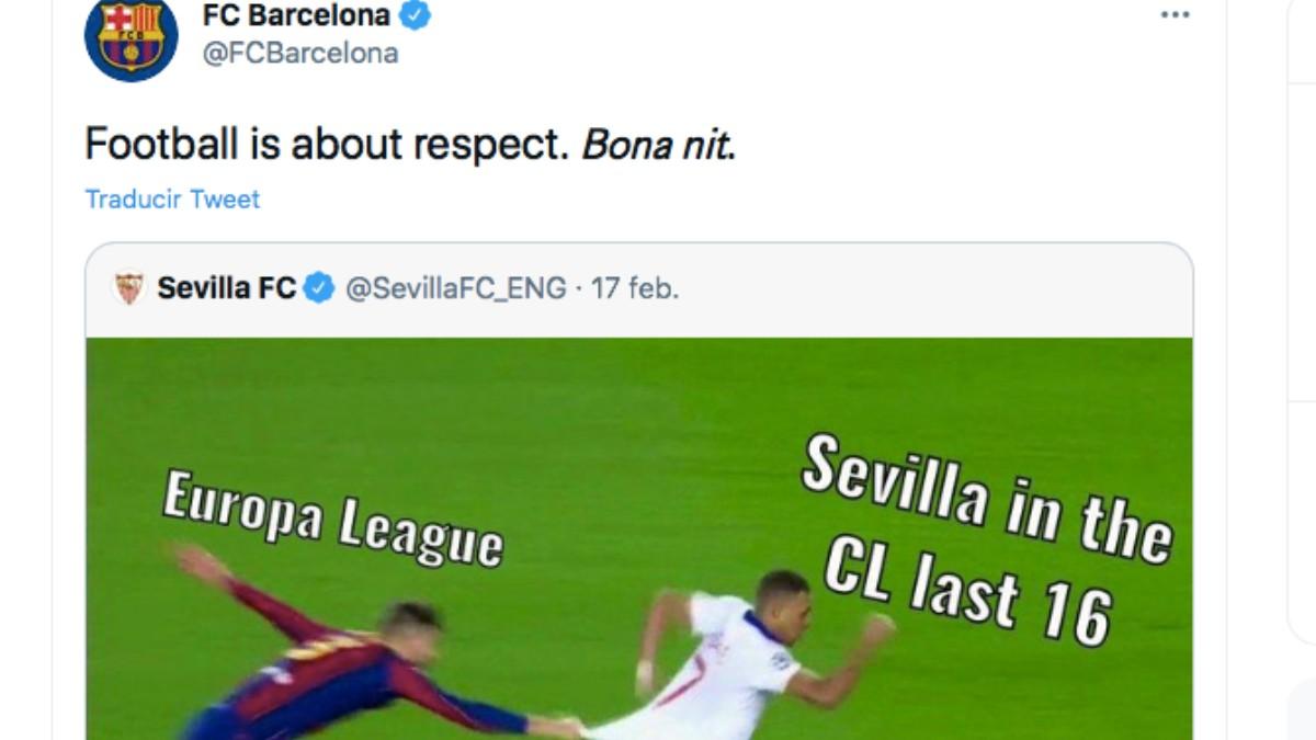 El Barcelona, a través de Twitter, reprocha su tuit al Sevilla.