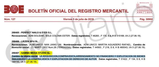 Nombramiento de Tornero como presidente de su propia compañía en el Registro Mercantil.