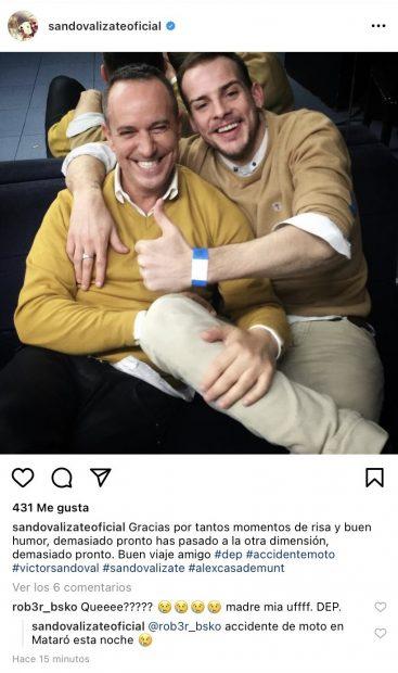 Víctor Sandoval recibe una lluvia de críticas por lo que puso en su mensaje de despedida a Álex Casademunt