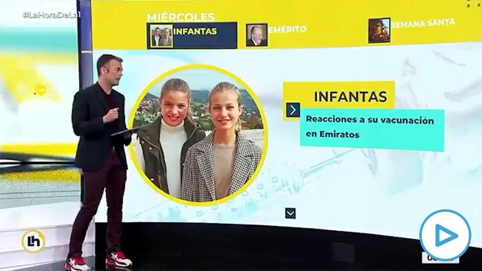 El programa 'La hora de la 1' de TVE señalando a la Princesa de Asturias y a la infanta Sofía, menores de edad.