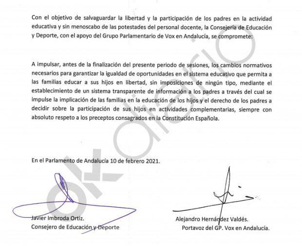 Documento firmado entre Vox y la Junta de Andalucía en materia educativa.