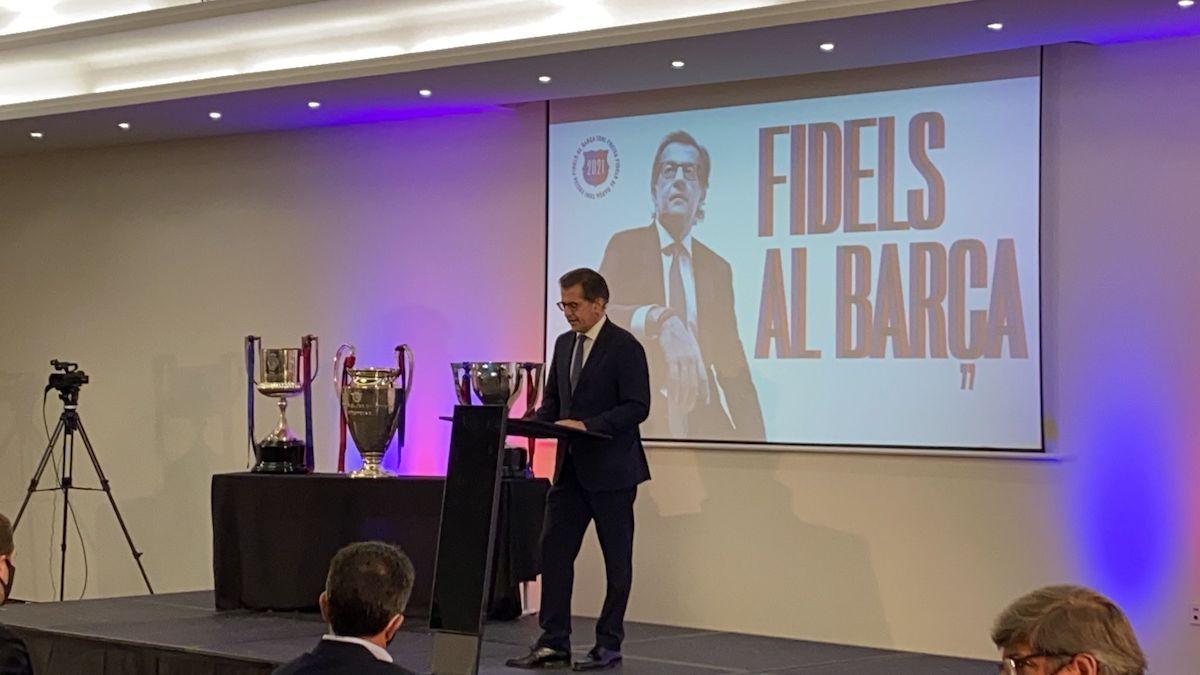 Toni Freixa, durante una conferencia por 'Fidels al Barça'.