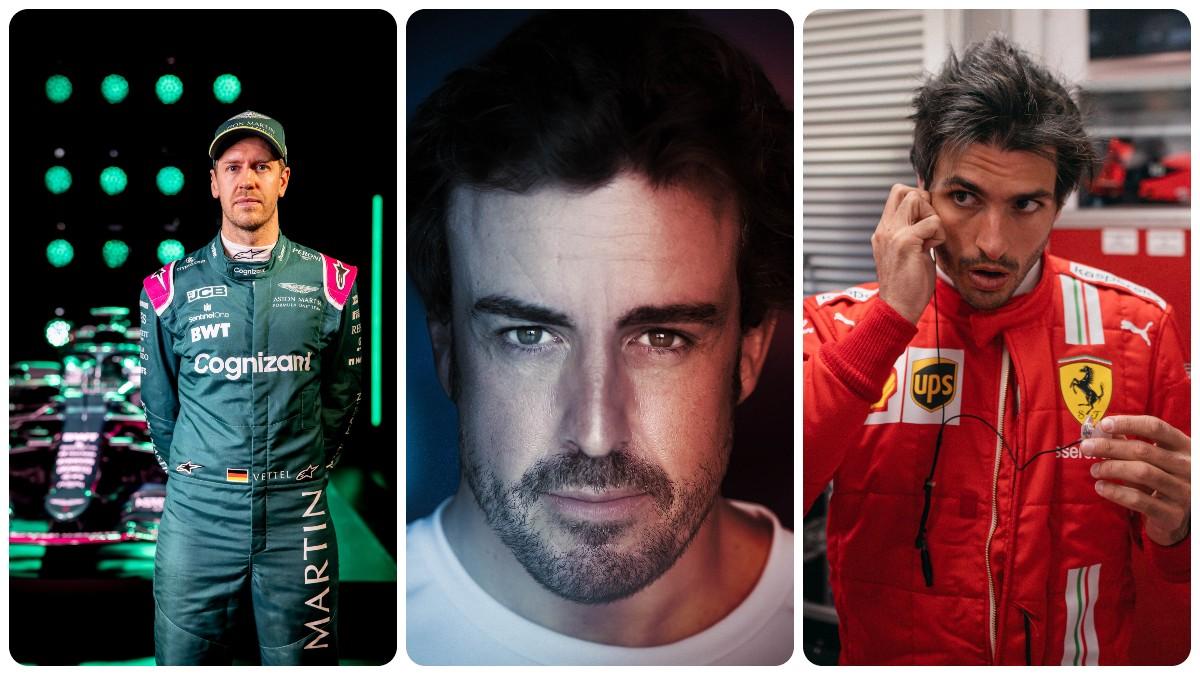 Sebastian Vettel, Fernando Alonso y Carlos Sainz.