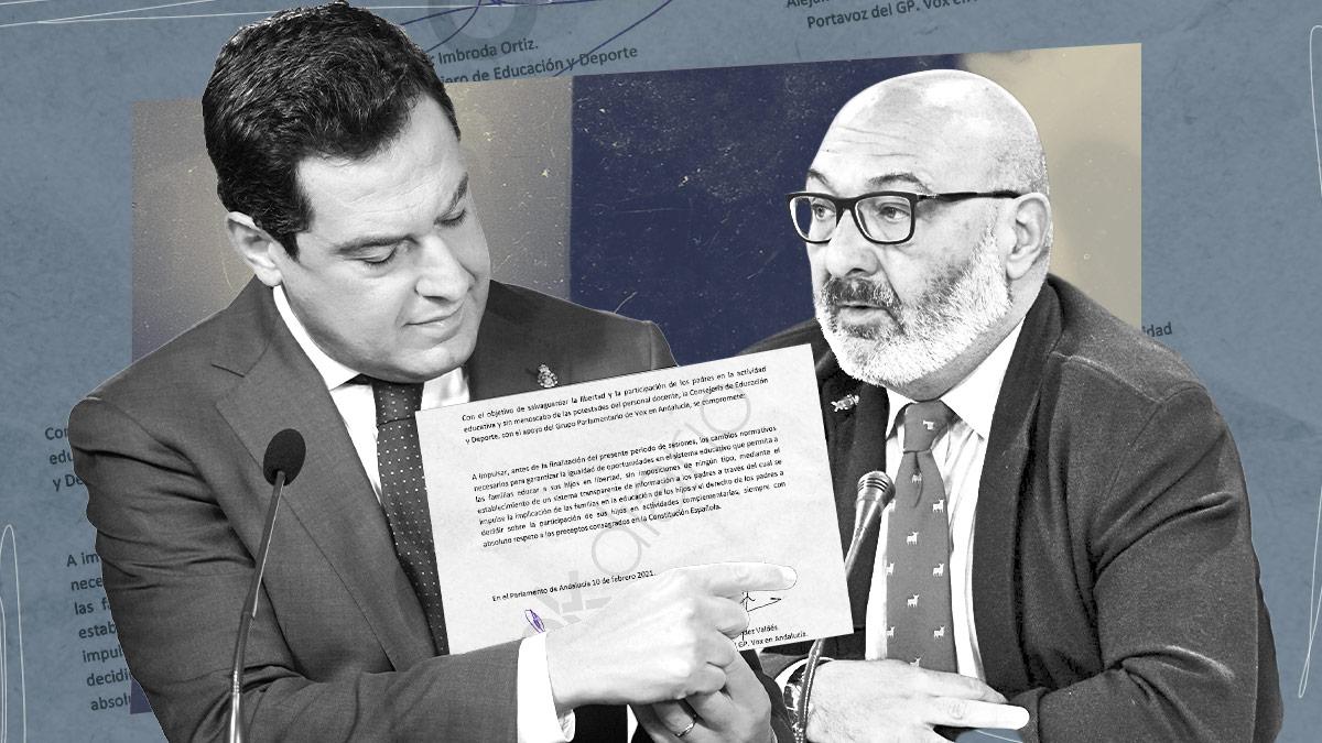 Juanma Moreno y Alejandro Hernández (Vox).