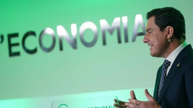 Juanma Moreno, este viernes, durante su ponencia 'Modelo Andalucía: respuestas para el futuro', ante el Cercle d'Economia de Barcelona. Fuente: EuropaPress.