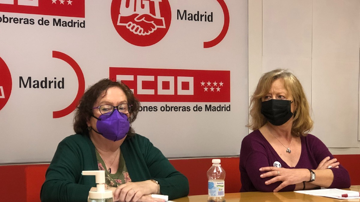 Representantes de UGT y CCOO este viernes en Madrid. (Foto: @UGTMadrid)