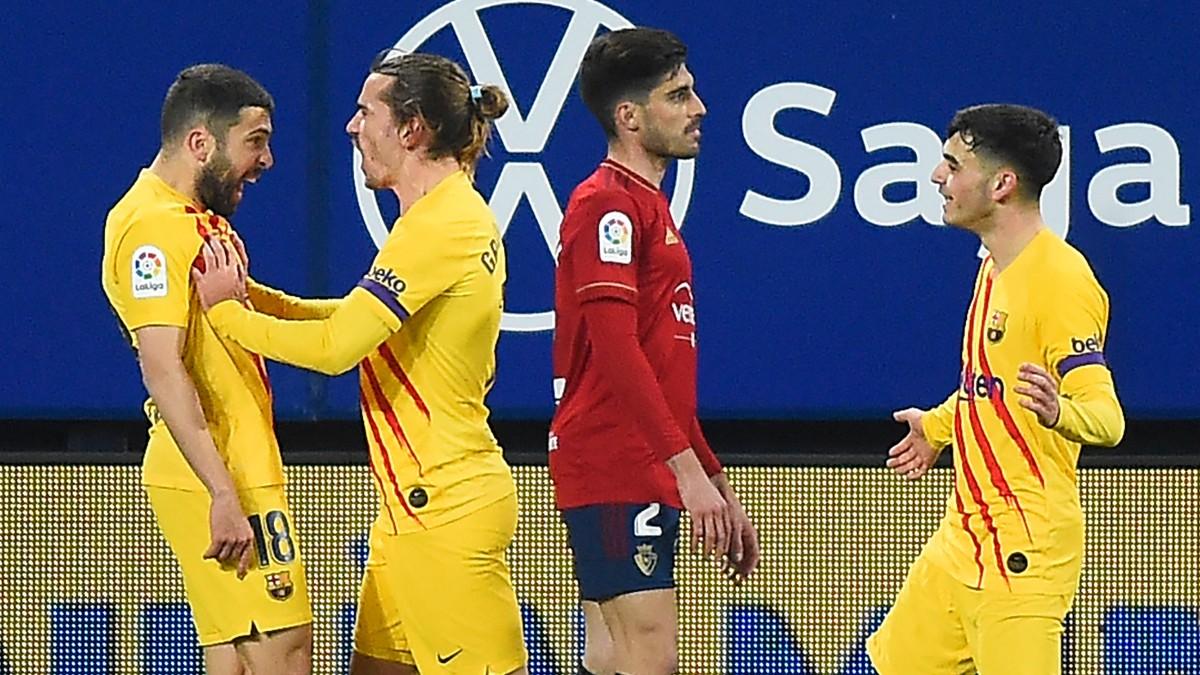 Jordi Alba abrió el marcador en Pamplona.