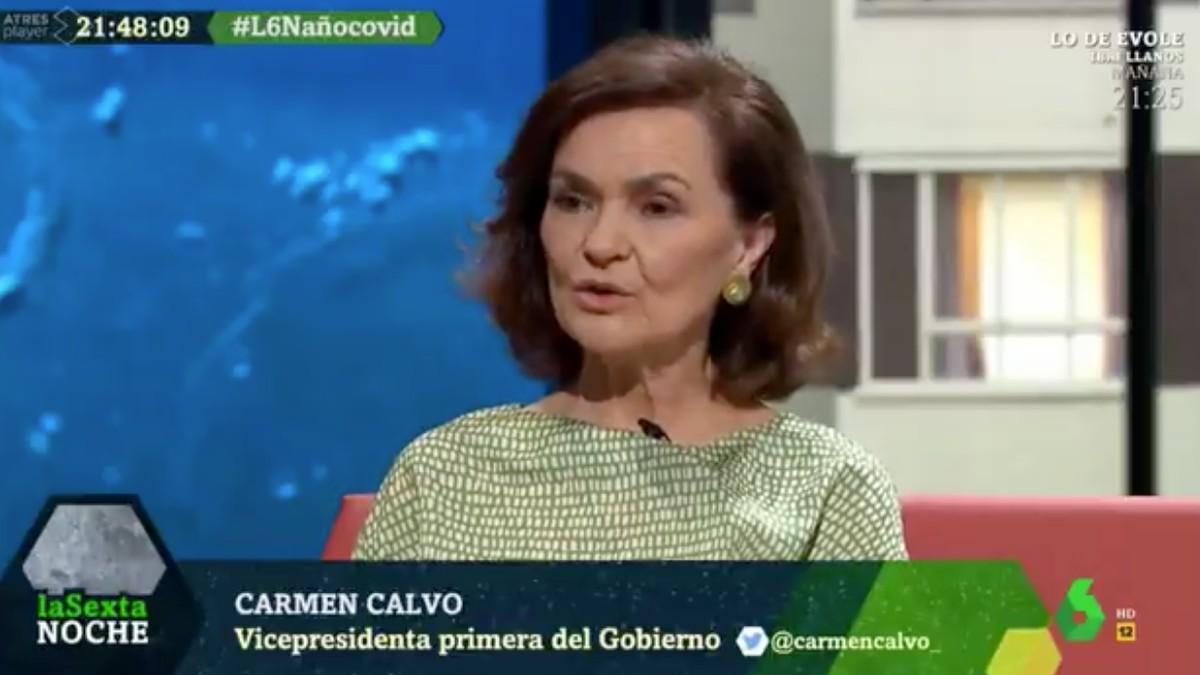 La vicepresidenta primera del Gobierno, Carmen Calvo, en La Sexta Noche.