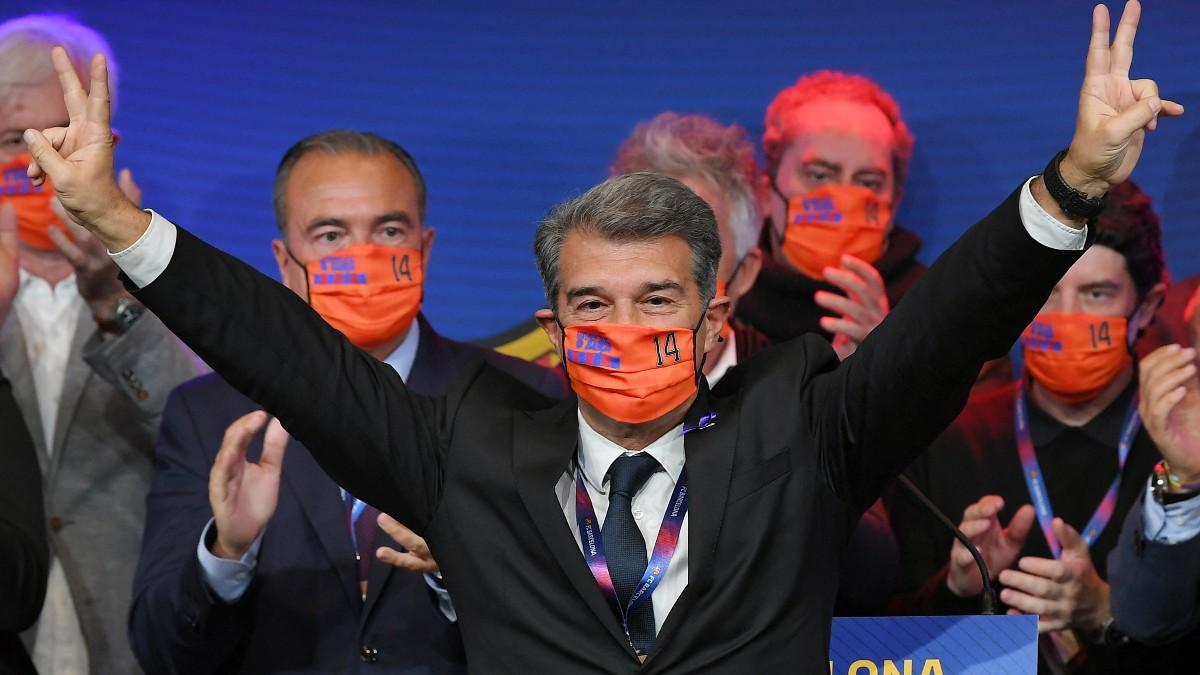 Laporta, tras ganar las elecciones. (AFP)