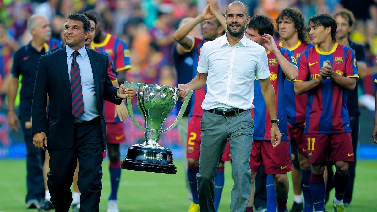 Joan Laporta lleva junto a Guardiola una de las Ligas ganadas. (AFP)