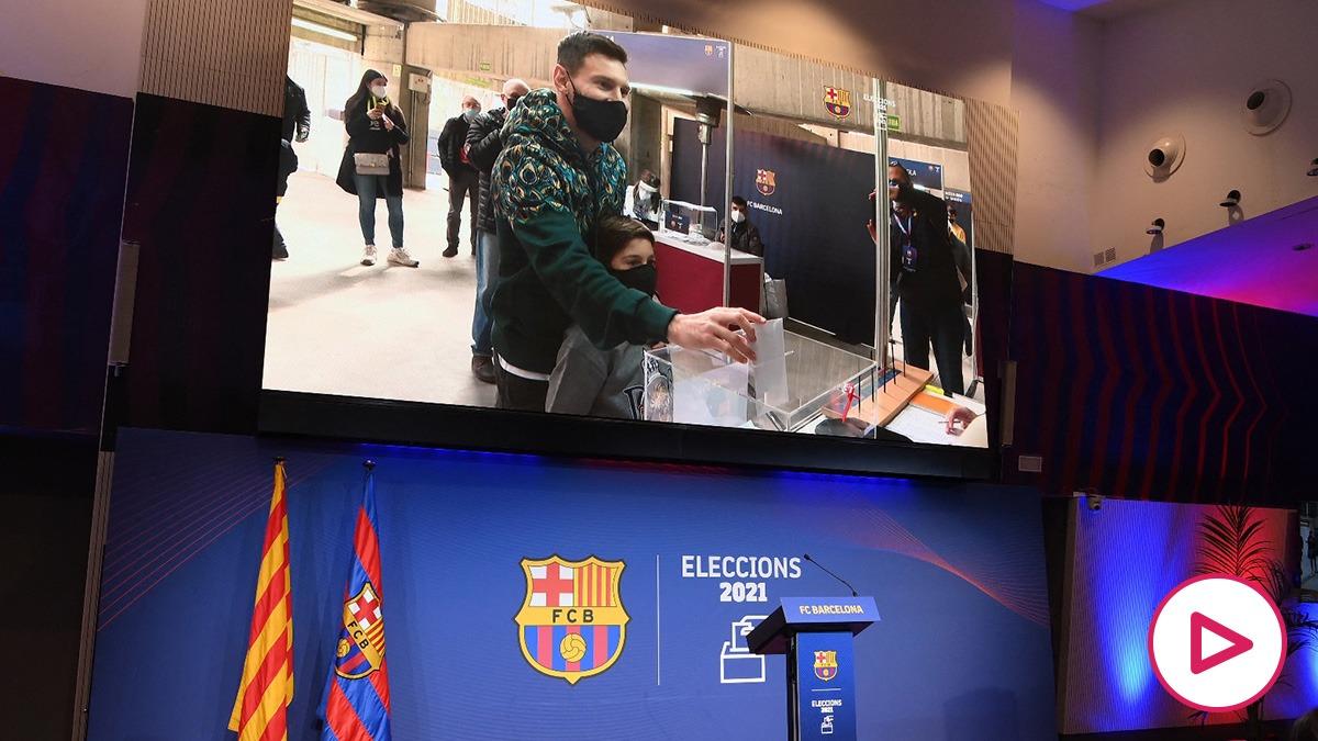 Leo Messi vota en las elecciones al Barcelona.