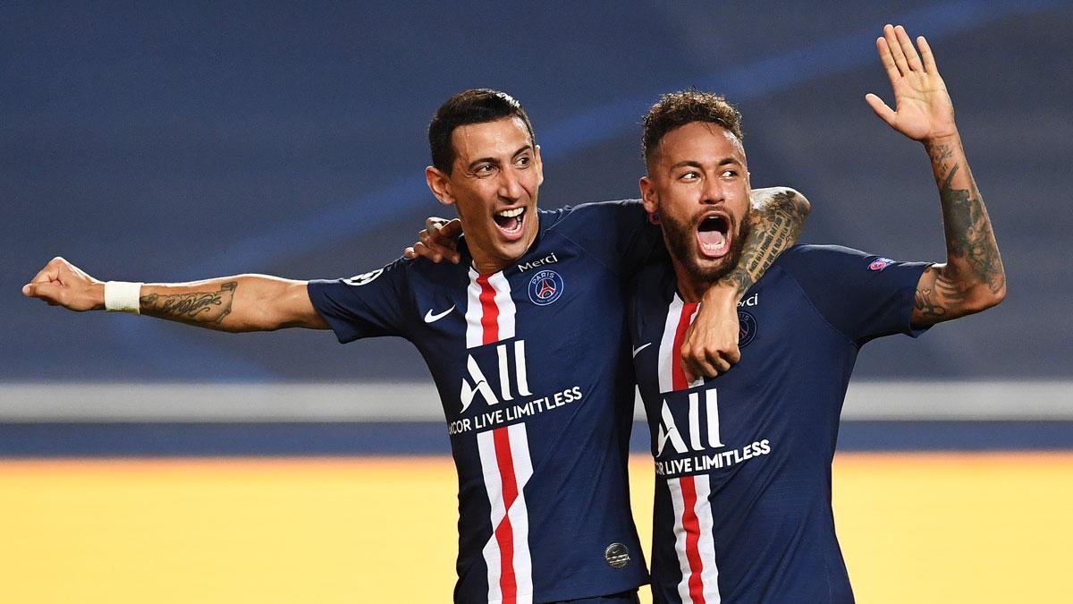 Di María y Neymar, durante un partido de Champions League (Getty)