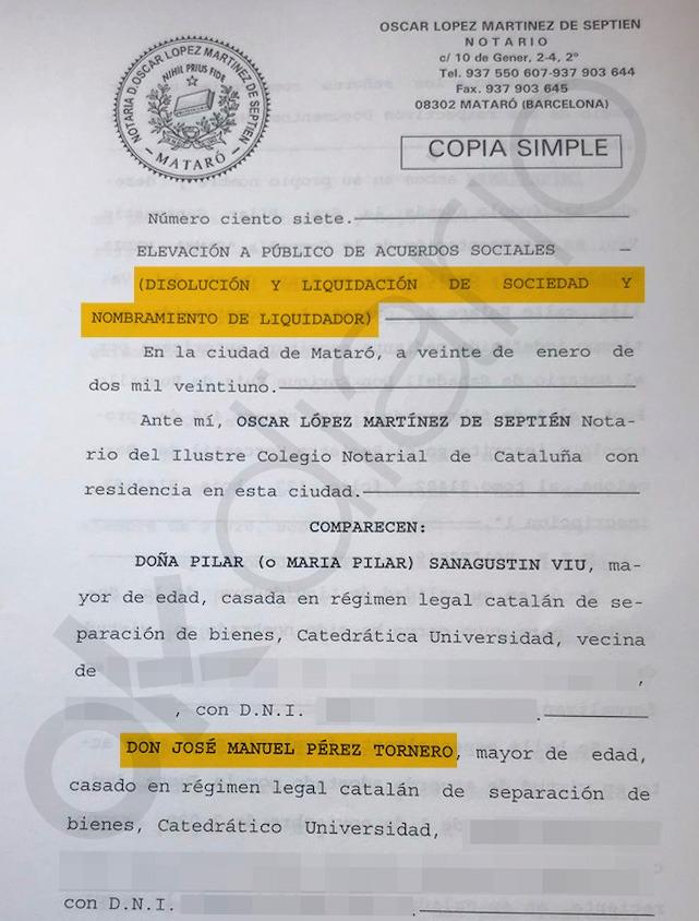 Acta notarial con la que Tornero cerró su sociedad instrumental.