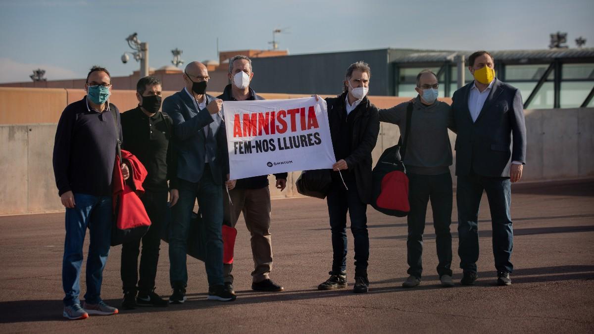 Oriol Junqueras, Jordi Sànchez, Jordi Turull, Josep Rull, Quim Forn, Jordi Cuixart y Raül Romeva. Foto: EP