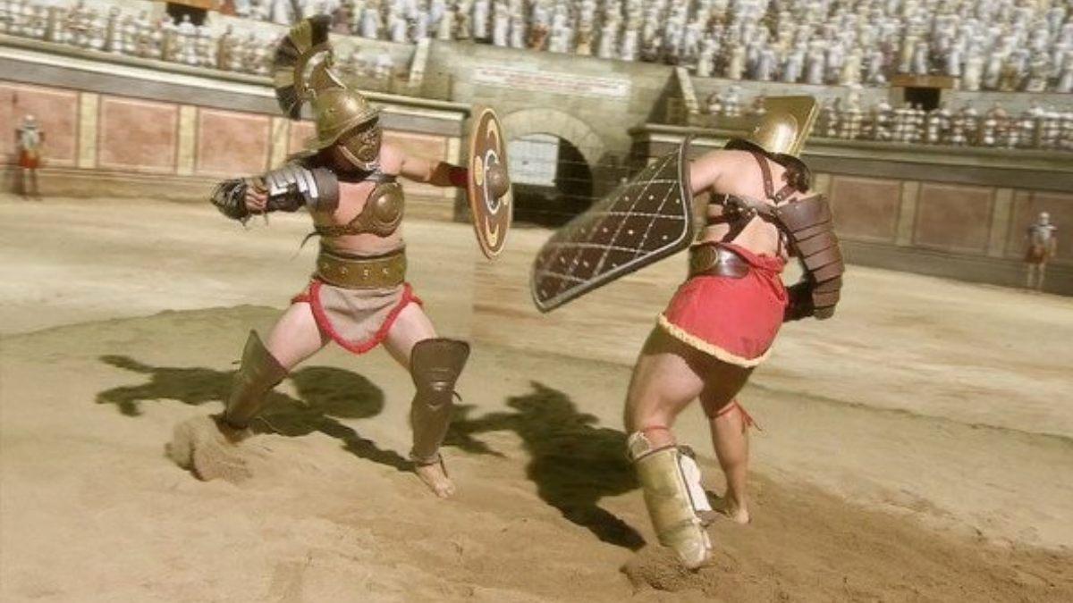 Dos gladiadores en la arena