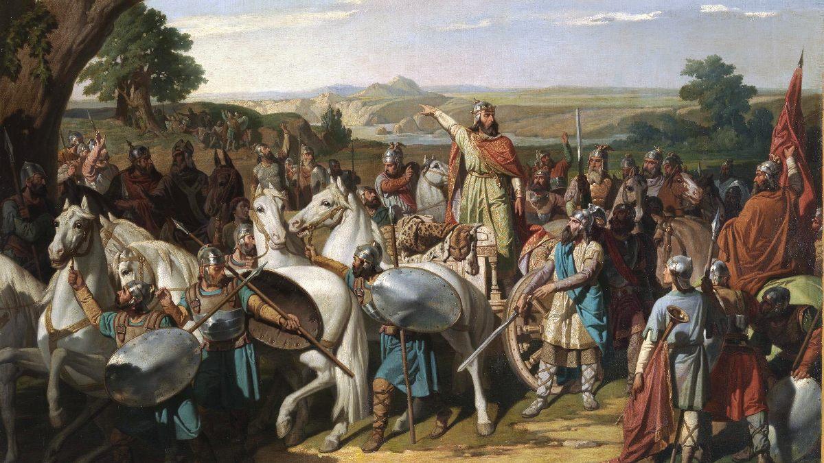 Rodrigo en la batalla de Guadalete