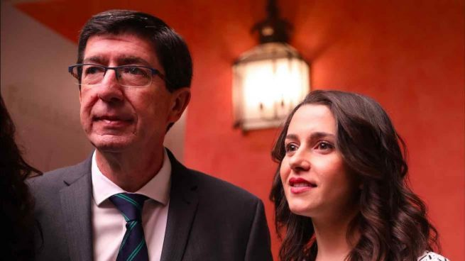 El vicepresidente de la Junta de Andalucía, Juan Marín y la portavoz nacional de Cs, Inés Arrimadas (Foto: Europa Press).